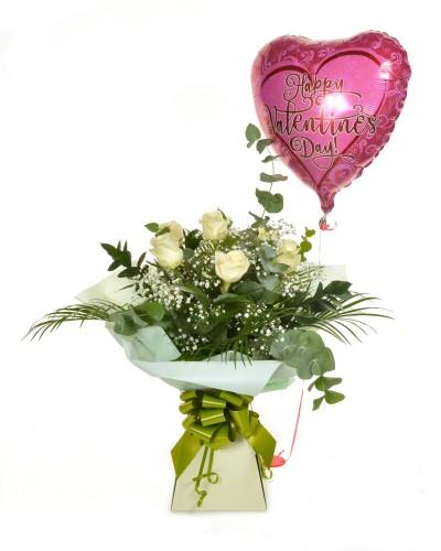 White Rose & Balloon Bouquet