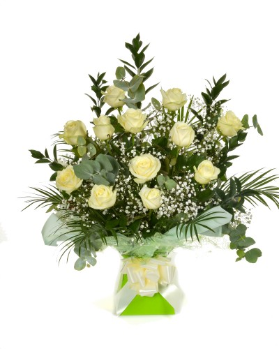 Dozen White Roses Arrangement