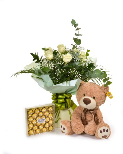 Half Dozen White Roses with Teddy And Sweets